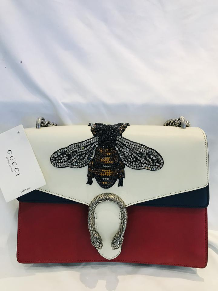 e7ac17f40 Gucci Dionysus Large Bee Appliqué Red Blue White Leather Shoulder Bag