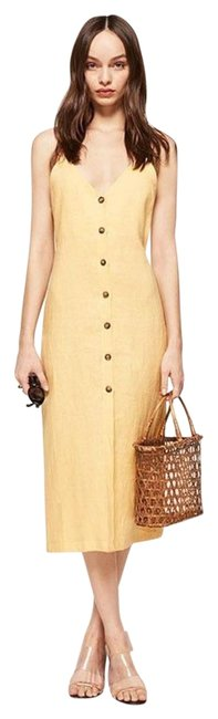 Item - Yellow Linen Button Front Mid-length Casual Maxi Dress Size 4 (S)