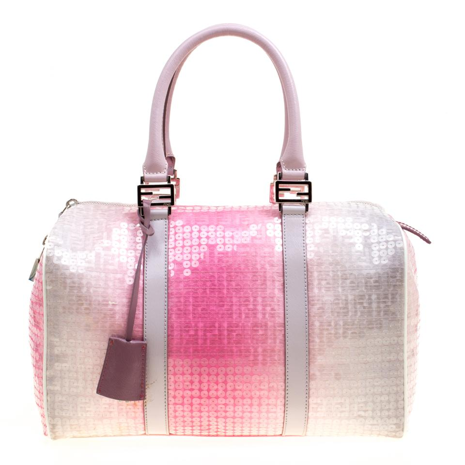 913d44293 Fendi Ombre Pink/Grey Zucchino and Sequins Forever Bauletto Bos Pink Canvas  Shoulder Bag