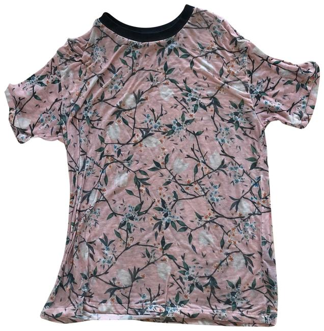 Item - Pink and Black Floral Cotton Fitted Tee Shirt Size 8 (M)