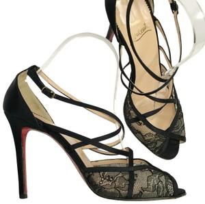 Christian Louboutin Redsoles Evening Cocktail Lace Sandals Black Formal