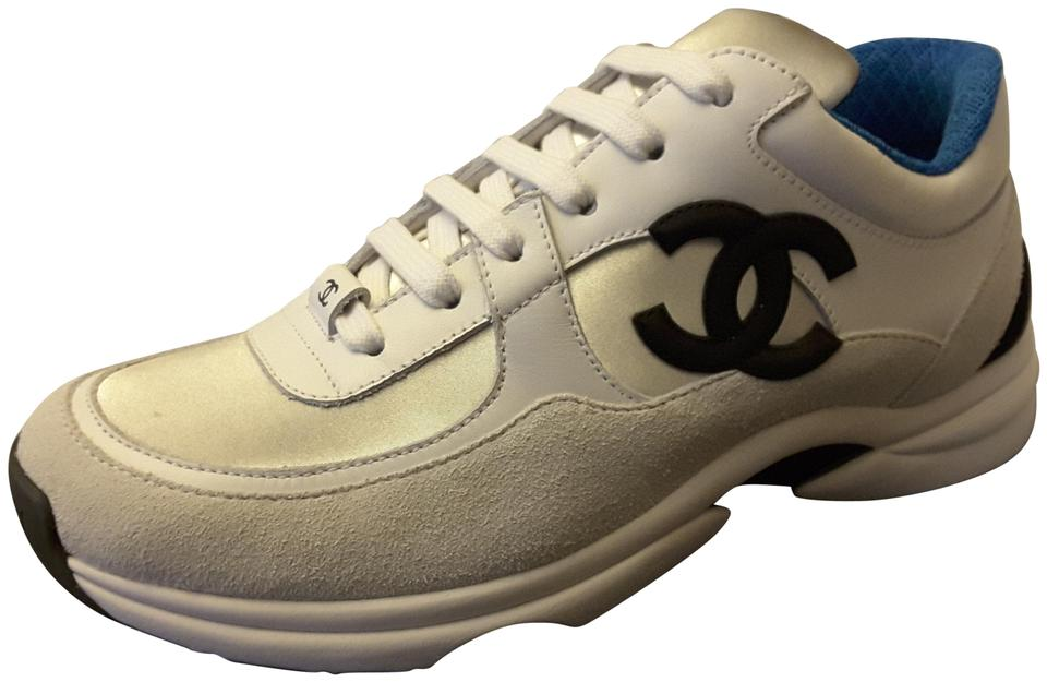 dc687546cece Chanel White 2018 Trainers Leather Silver Blue Sneakers Sneakers Size EU 38  (Approx. US 8) Regular (M