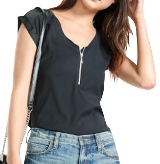 Item - Silky Zip Front Rolled Sleeve Blouse Black Top