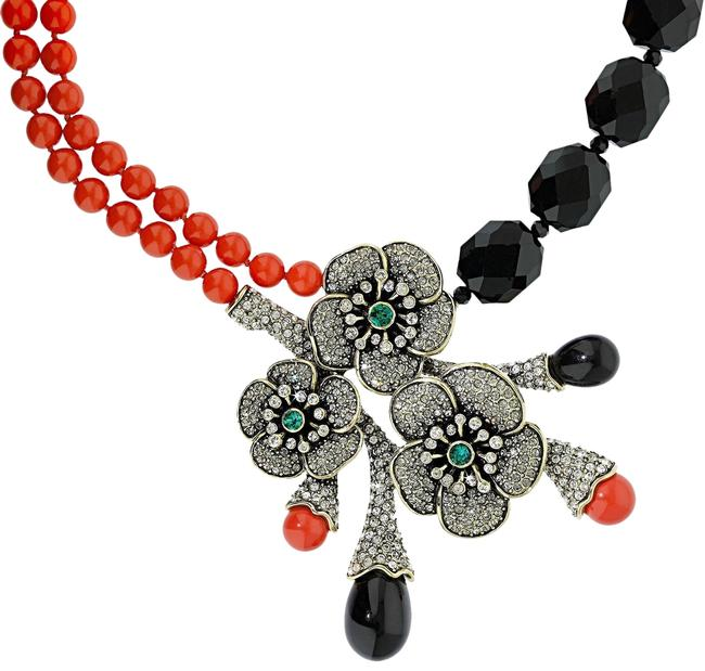 "Item - Black Multi ""Blossom Du Jour"" Sophisticated Crystal Statement Necklace"