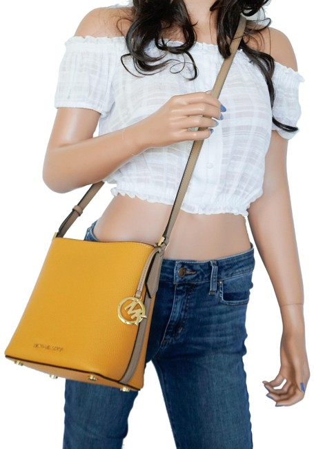 Item - Bucket Kimberly Pebbled Small Marigold Multi Yellow Leather Messenger Bag