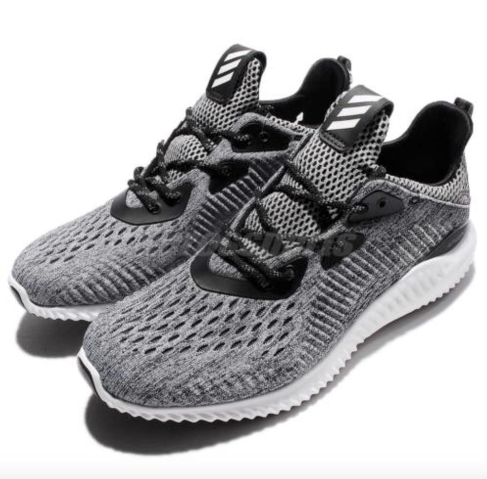 29608f9780794 adidas Grey Black Women s Alpha Bounce Em Running Sneakers Size US ...