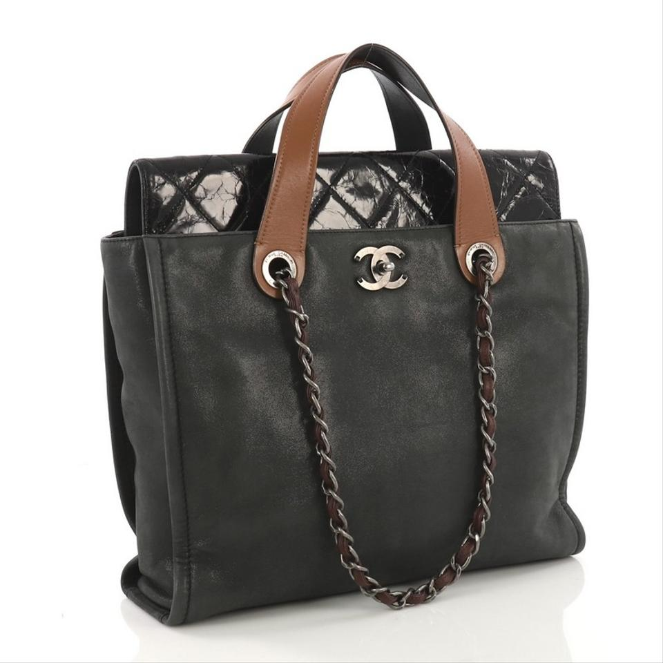 56798cfc76a1 Chanel In The Mix Portobello Soft Quilted Iridescent Charcoal Black  Calfskin Leather Tote - Tradesy