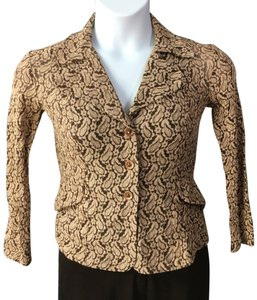 Anna Sui Vintage Stretchy Brown and taupe Blazer