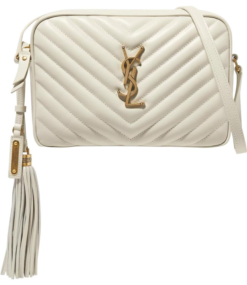 9251c63f6 Saint Laurent Monogram Loulou - Quilted White Leather Shoulder Bag ...