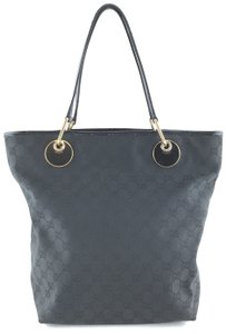 Gucci Guccissima Logo Tote in black with dark blue undertone