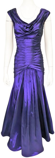 Item - Purple W Iridescent Silk Taffeta Pleated Evening W/ Train Long Formal Dress Size 6 (S)