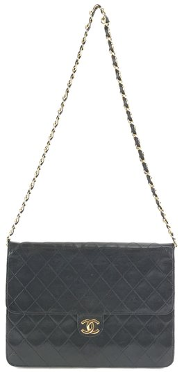 f6be923f22d3 Chanel  28336 Rare Quilted Cc Envelope Quilted Chain Single Flap Black  Lambskin Leather Shoulder Bag