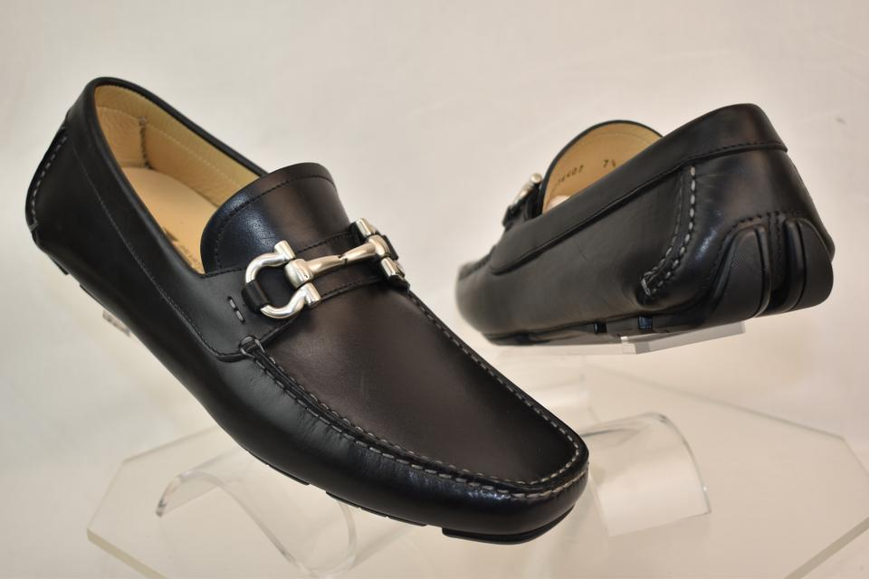 6908a078925 Salvatore Ferragamo Black Parigi Leather Gancini Drive Moccasins 7.5 Ee  40.5 Shoes