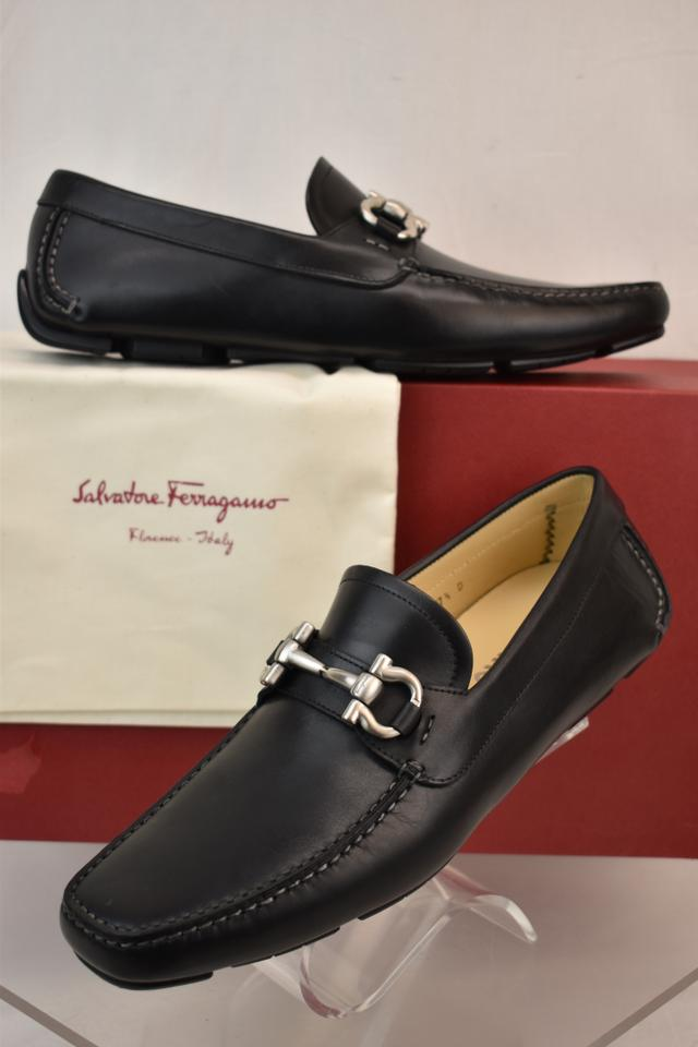 614e061c1fe Salvatore Ferragamo Black Parigi Leather Gancini Drive Moccasins 7.5 Ee  40.5 Shoes Image 10. 1234567891011