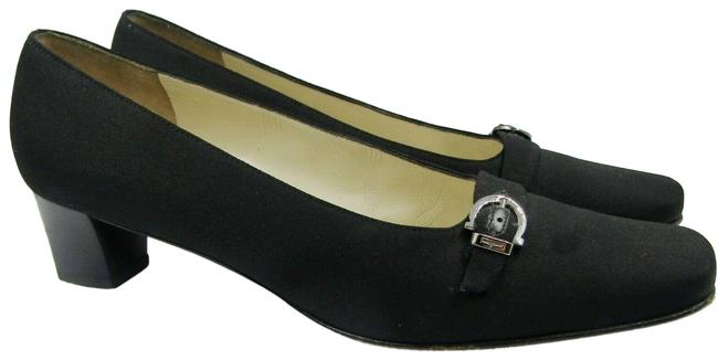 Salvatore Ferragamo Black Vintage B M Canvas Buckle Logo Heel Pumps Size US 6.5 Regular (M, B) Salvatore Ferragamo Black Vintage B M Canvas Buckle Logo Heel Pumps Size US 6.5 Regular (M, B) Image 1