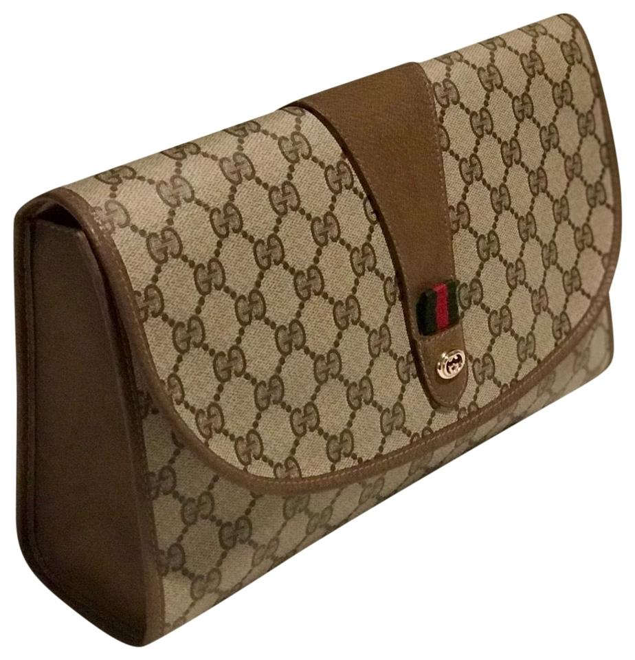 4537b2748f8 Gucci Monogram Gg Supreme Large Sherry Line Ophidia Brown Pvc Coated ...