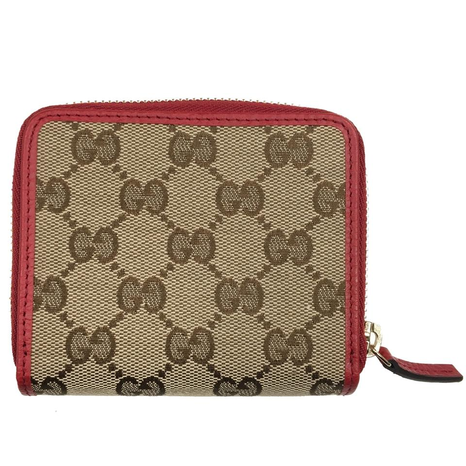 a7d7c1290a3 Gucci Gucci Women s Original GG Canvas and Red Leather French Flap Wallet  Image 0 ...