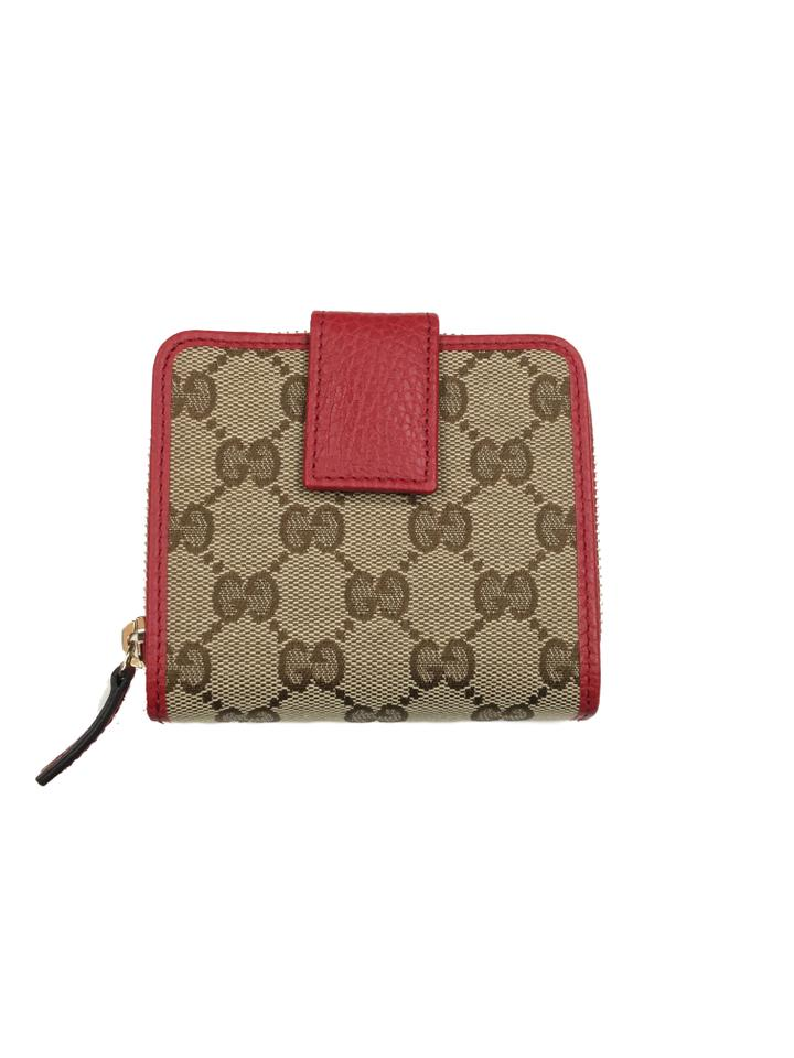 481275553a5 Gucci Gucci Women's Original GG Canvas and Red Leather French Flap Wallet  Image 4. 12345