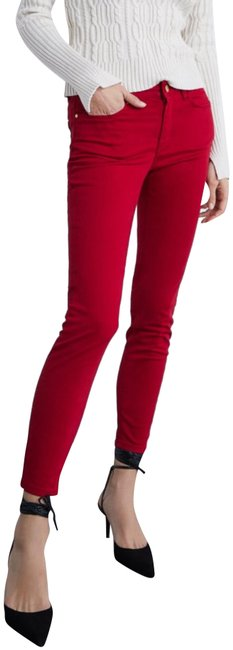 Item - Maroon Colored Satin Pants Skinny Jeans Size 8 (M, 29, 30)