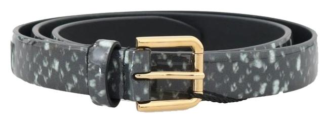 Item - Black / White / Gold D50032-2 Pattern Leather (70 Cm / 28 Inches) Belt