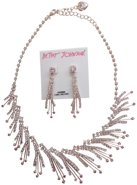 Betsey Johnson Pink New Cubic Zirconia Necklace & Earrings Betsey Johnson Pink New Cubic Zirconia Necklace & Earrings Image 1