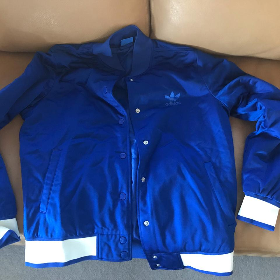 cfb0813d9 adidas Royal Blue Embellished Arts Bomber Activewear Outerwear Size 4 (S)  40% off retail