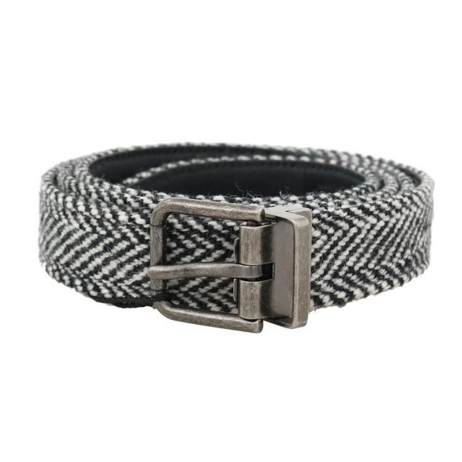 Item - Black / White D50003-4 Chevron Wool Leather Belt (85 Cm / 34 Inches) Groomsman Gift