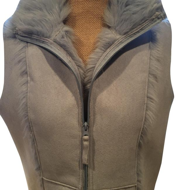 Item - Pale Blue Very Cute Ultra Suede Out Faux Fur In Vest Size 8 (M)