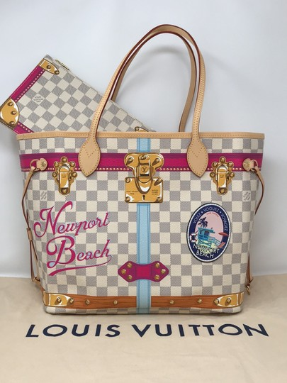 Louis Vuitton Newport Beach Trunks Summer Trunks Limited Edition Neverfull Tote in Damier Azur Image 2