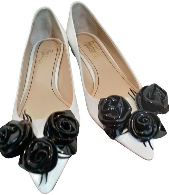 Jerome C. Rousseau White Black Patent Leather with Flowers Pumps Size EU 37 (Approx. US 7) Regular (M, B) Jerome C. Rousseau White Black Patent Leather with Flowers Pumps Size EU 37 (Approx. US 7) Regular (M, B) Image 1