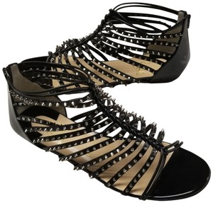 Christian Louboutin Spiked Black, Silver Flats