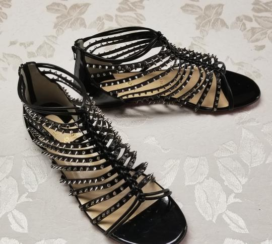 Christian Louboutin Spiked Black, Silver Flats Image 2