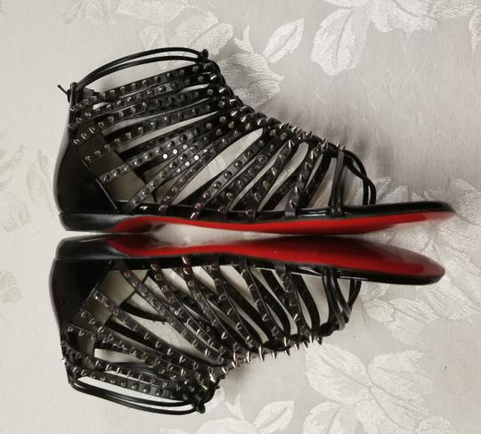 Christian Louboutin Spiked Black, Silver Flats Image 5