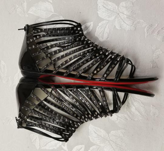 Christian Louboutin Spiked Black, Silver Flats Image 6