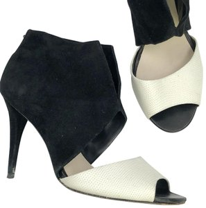 Aerin Zipper Professional Night Out Peep Toe Black White Boots
