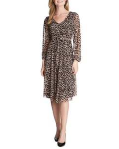 Cynthia Steffe Animal Print Sheer Dress