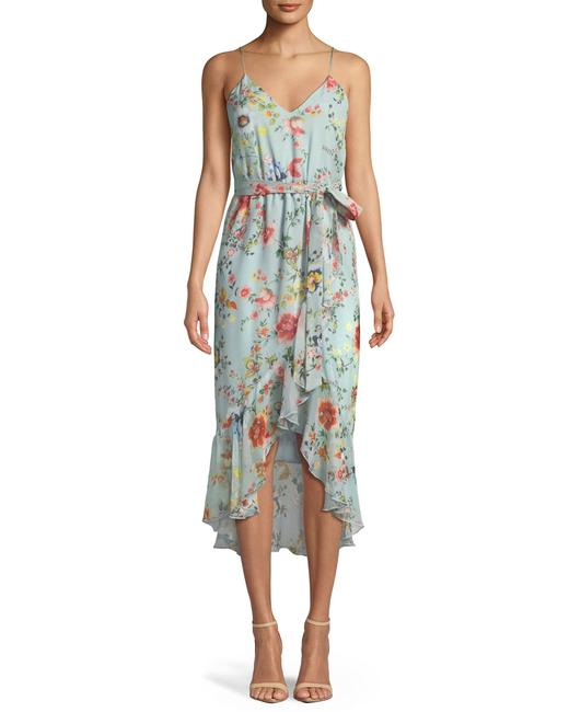 Item - Multicolor Mable Floral Midi Wrap Dress-no Sash Mid-length Short Casual Dress Size 8 (M)