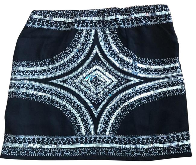 Item - Black Silver Sequins Beads and Thread Skirt Size 4 (S, 27)