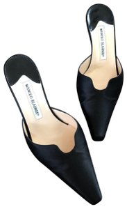 Manolo Blahnik Black satin Mules