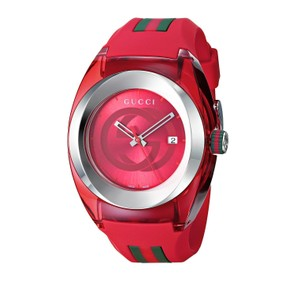 f76ac3d29a6 Gucci Sync 46mm Swiss Red Dial Striped Rubber Strap YA137103 Unisex Quartz
