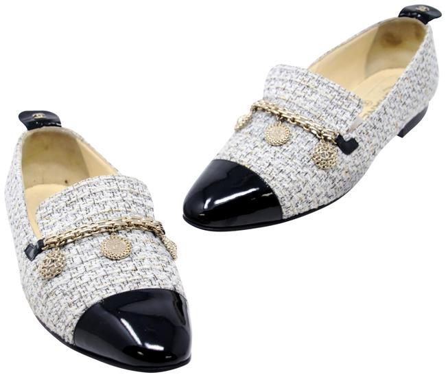 Item - Black Tweed and Patent Leather Cap Toe Charm Women's Loafers Formal Shoes Size US 9 Regular (M, B)
