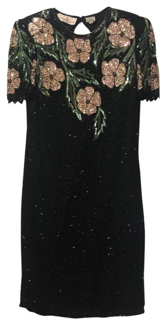 Preload https://img-static.tradesy.com/item/25060857/laurence-kazar-black-vintage-mid-length-night-out-dress-size-petite-4-s-0-1-650-650.jpg