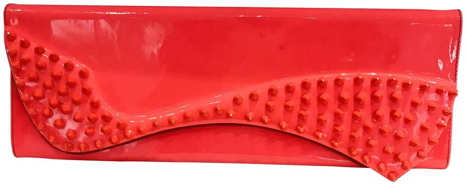 cab781ca178 Christian Louboutin Pigalle Spikes Orange Patent Leather Clutch