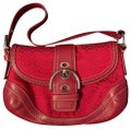 Coach Monogram Purse Red Leather and Cloth Baguette Coach Monogram Purse Red Leather and Cloth Baguette Image 1