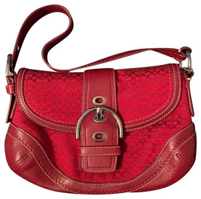 Item - Monogram Purse Red Leather and Cloth Baguette