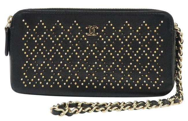Chanel Clutch Studded with Chain Black Leather Cross Body Bag Chanel Clutch Studded with Chain Black Leather Cross Body Bag Image 1