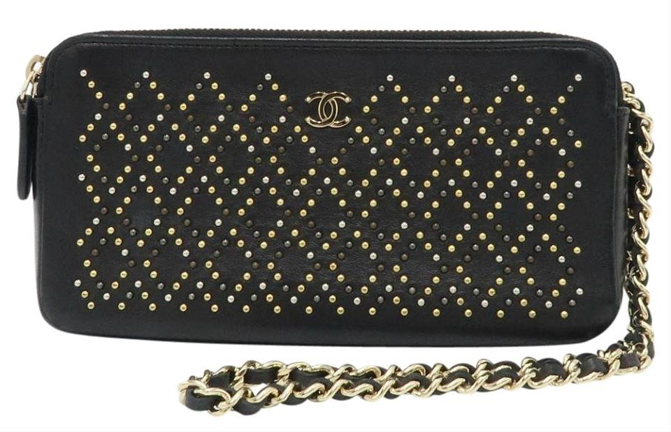 09dc2dccbbe3 Chanel Clutch Studded with Chain Black Leather Cross Body Bag - Tradesy