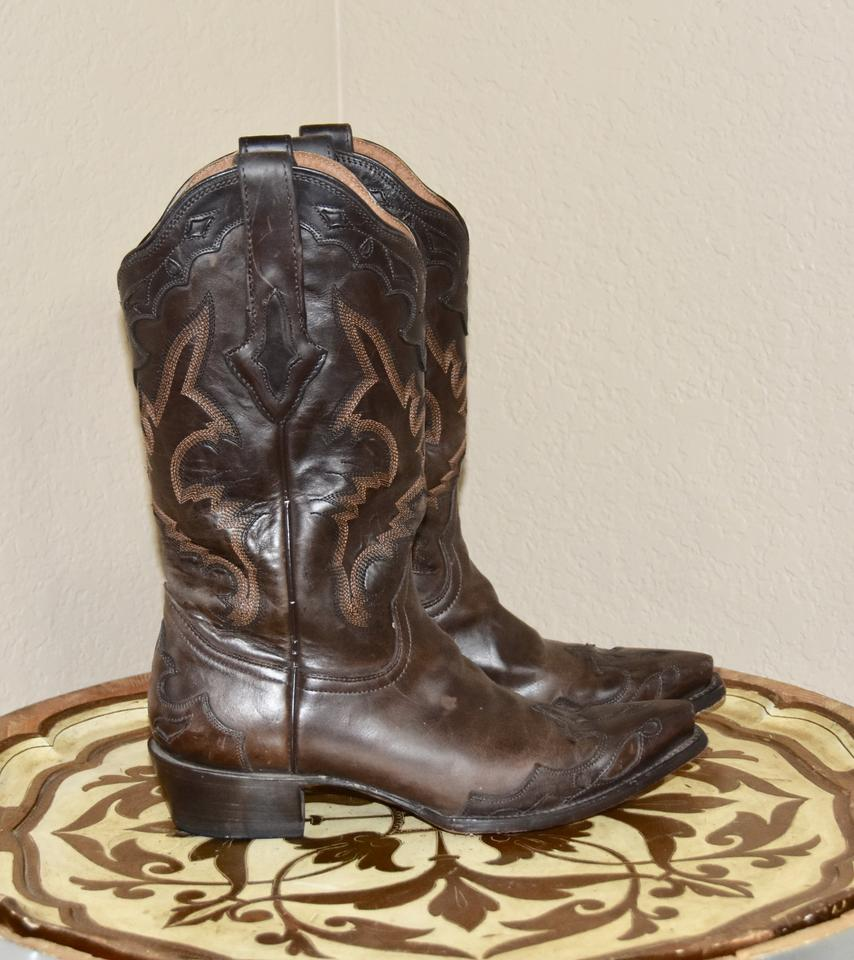 d0f660b7ca4 Lucchese Brown Resistol Ranch Leather Calf Boots/Booties Size US 8.5  Regular (M, B)