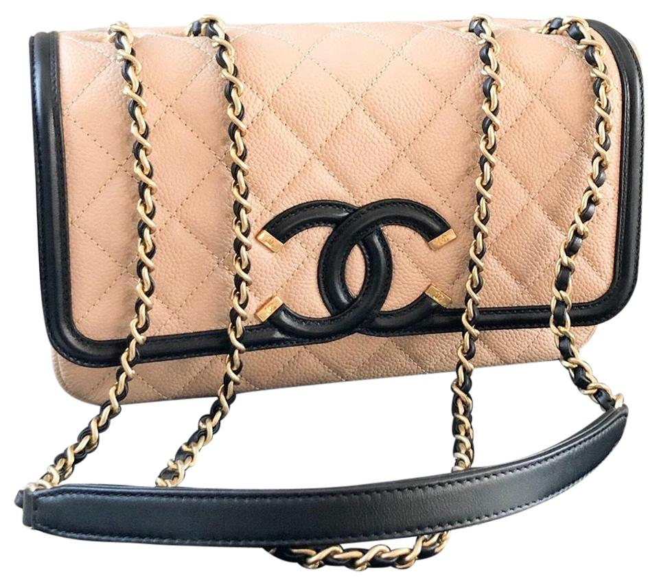 dde47d43022cf1 Chanel Classic Flap Caviar Cc Filigree Black Beige Flap Leather ...