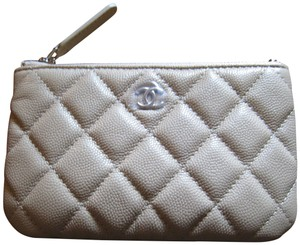 d4d1a8a2d593 Chanel MINI COIN POUCH O CASE in BEIGE CAVIAR LEATHER with SHW 18B
